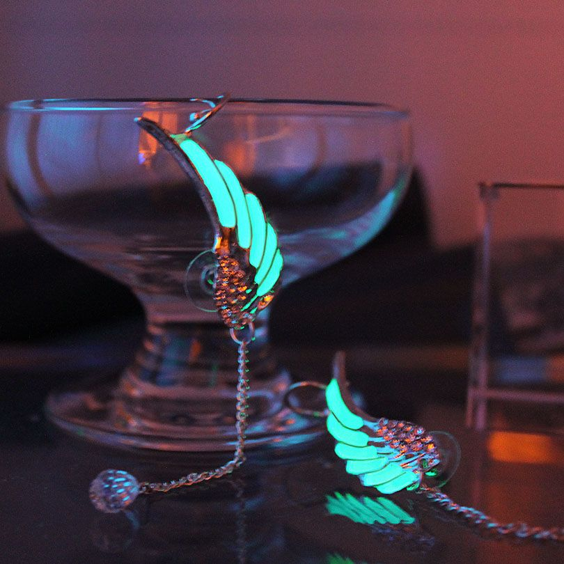 THE wings Ear Cuff Ear Cuff GLOW in the DARK diamante Wings feather Ear clip earrings Stud Earring Clip Earrings WOMEN girl gift
