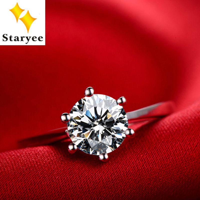 Zertifiziert 1 Carat Für Immer Einem Echtem 18 karat Solid Weiß Gold Klassische Design Moissanite Diamant Jahrestag Ringe Für Frauen Schmuck