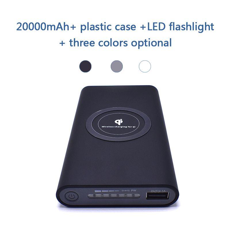 20000 mah Puissance Banque Batterie Externe Charge Rapide Sans Fil Puissance banque Portable Mobile Téléphone Chargeur pour Samsung iPhone 8 8 plus X