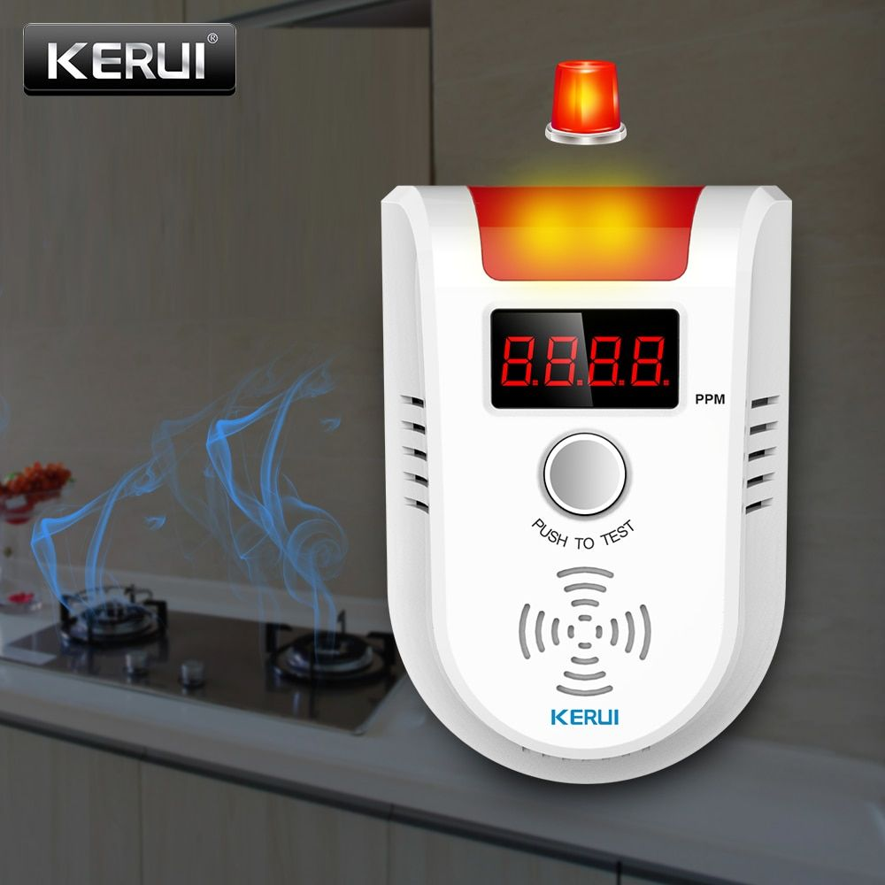 KERUI GD13 LPG GAS <font><b>Detector</b></font> Wireless Digital LED Display Combustible Gas <font><b>Detector</b></font> For Home Alarm System