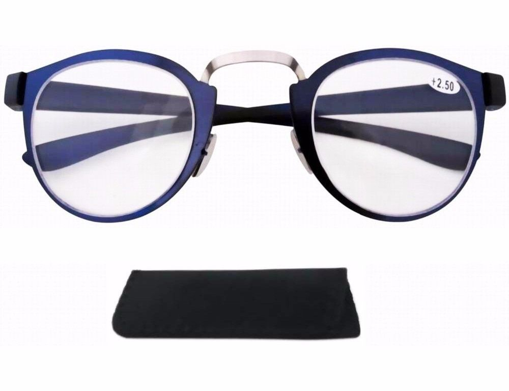Stainless Steel Frame Rim Plastic Arms Retro SilverBlue Reading Glasses Wpouch KF801-825