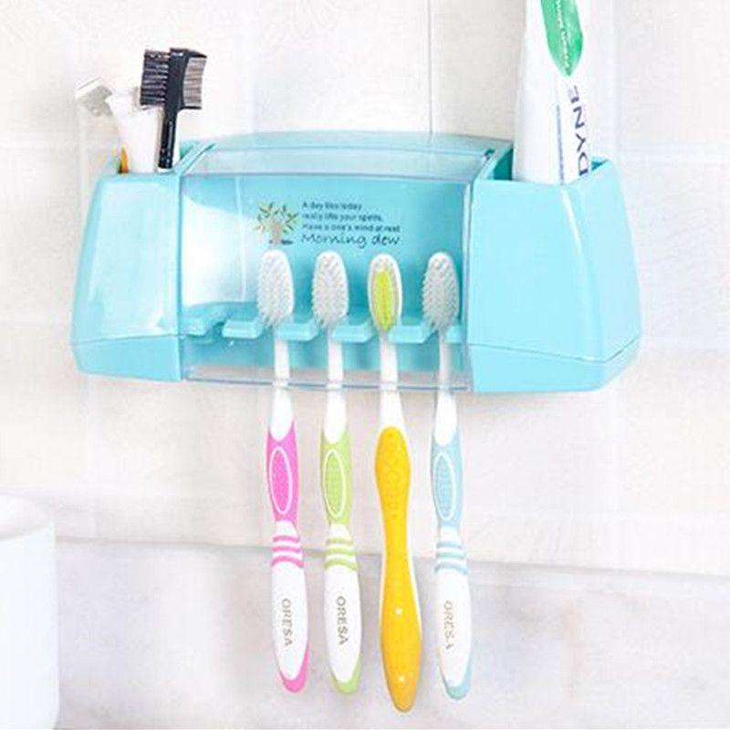 BAISPO Multifonctionnel porte brosse à dents boîte de rangement salle de bains Produits accessoires de salle de bains aspiration crochets porte-brosse à dents