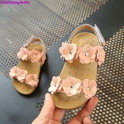HaoChengJiaDe verano niñas sandalias princesa flor Zapatos niños zapatos planos niños Sandalias Zapatos de bebé zapatos de cuero tamaño 21-30