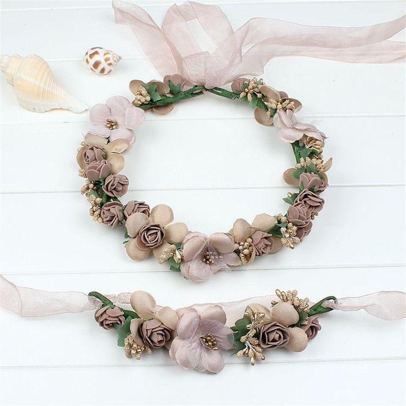 Mode beau mariage mariée fleur diadème couronne Coroa bandeaux Floral mariée guirlande couronnes plage couronne de bal coiffure