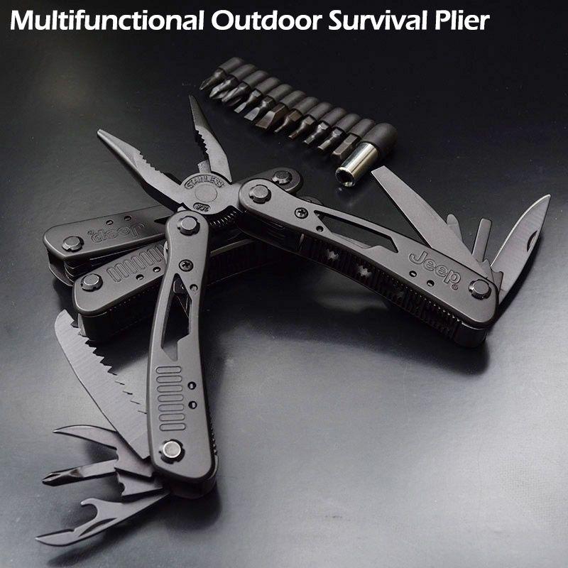 De haute Qualité En Plein Air Multifonctionnel de Survie Pince Inoxydable De Tungstène Alliage Poche Multi outils Couteau Camping Kit