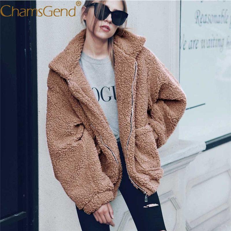 Chamsgend 2017 new fashion women jacket winter warm Faux lambswool oversized jacket women clothing coat sweater windbreaker 77#