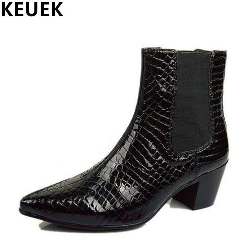 С Острым носком Мужская обувь из натуральной кожи модные Сапоги и ботинки для девочек лифт обувь весна/осень британский стиль мужские ботил...
