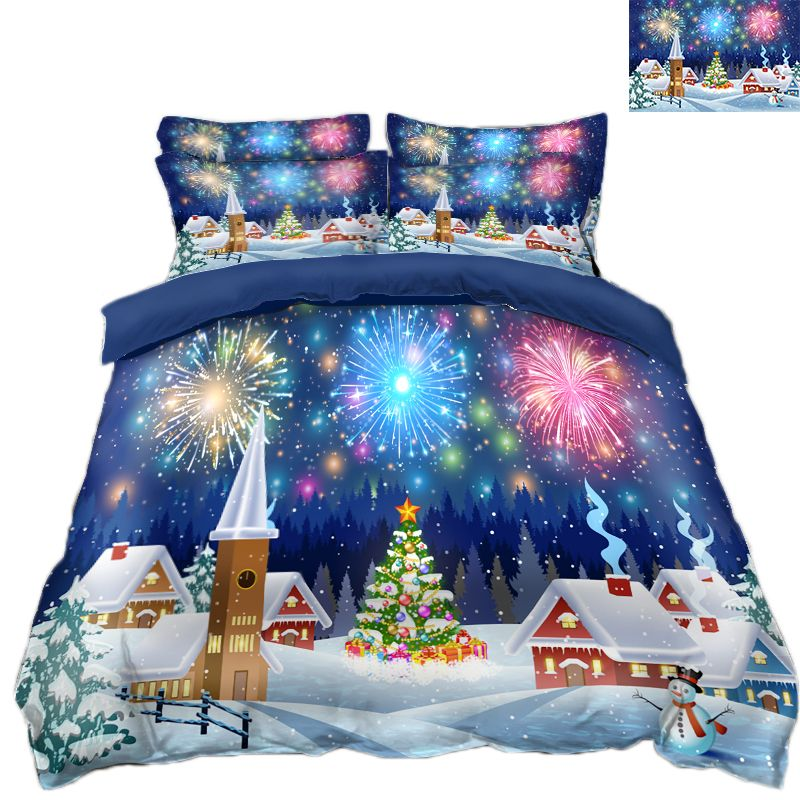 3D bedding sets Duvet Cover Pillowcase Twin king size Queen Bed Linen California king Bed Christmas Fireworks decorate