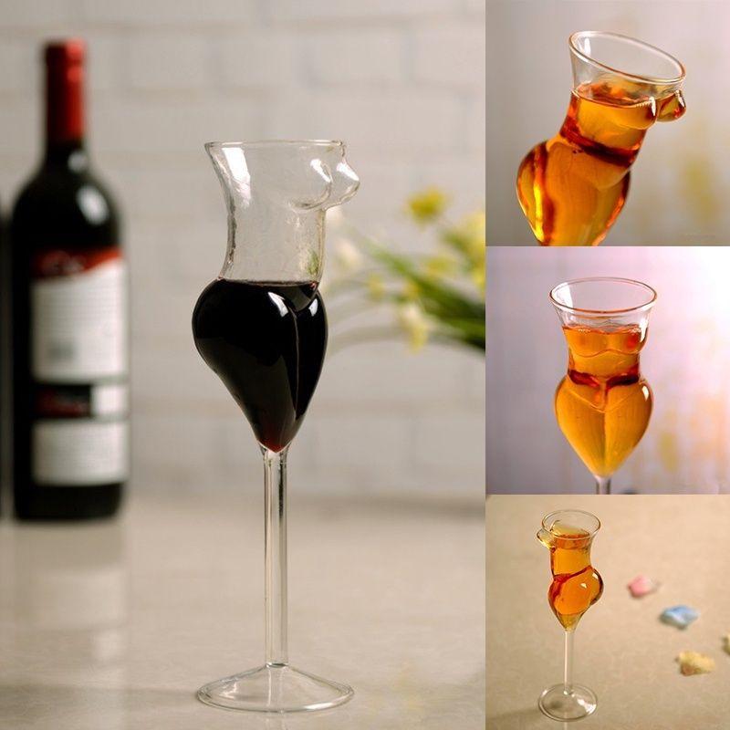 2 pcs 200 ML 7 OZ Creative Nu corps Féminin Vin gobelet en verre Sexy beauté corps Verre à Cocktail pour Bar et Club drôle verre de Vin
