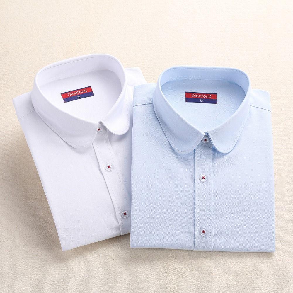2017 Dioufond Formal Blouse Women Solid Shirt Cotton Office Tops Long Sleeve Femme Casual Shirts Women White Shirt Plus Size 5XL