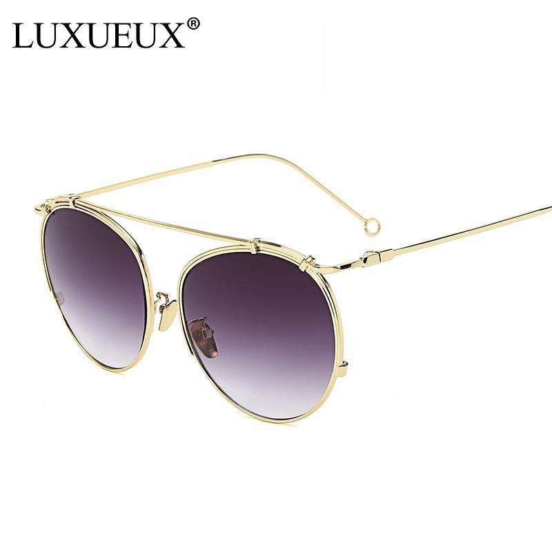 Women Round Sunglasses Fashion Women Single Beam Brand Designer Metal Frame Mirror Reflective Sun Glasses Women Classic Shades