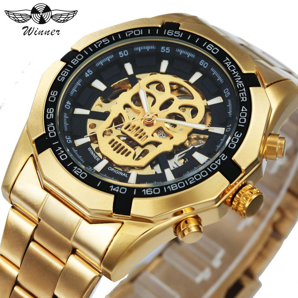 WINNER New Fashion <font><b>Mechanical</b></font> Watch Men Skull Design Top Brand Luxury Golden Stainless Steel Strap Skeleton Man Auto Wrist Watch