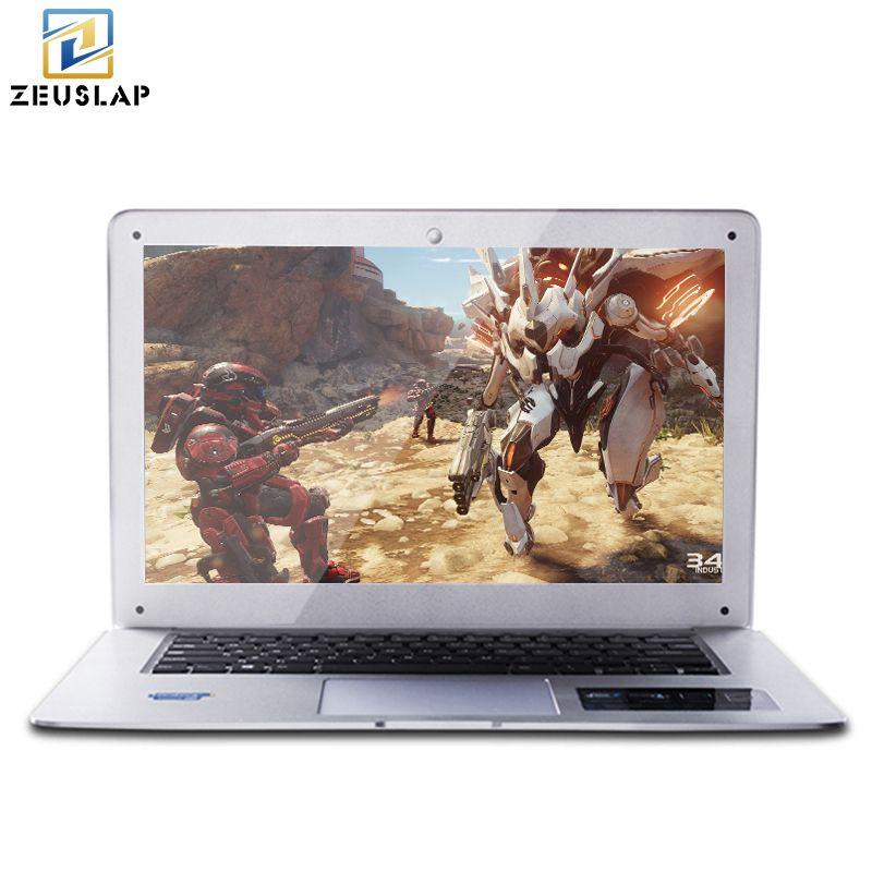 ZEUSLAP 14inch 4GB Ram+128GB SSD Ultra-thin Ultra-light Quad Core Fast Boot Windows 10 system Laptop Notebook Computer