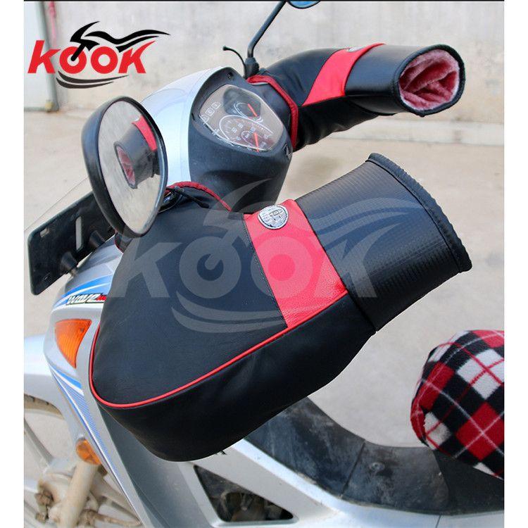 high quality pro Leather motorcycle glove plush motorbike handguard keep warmth Windproof warm winter moto hand guard universal