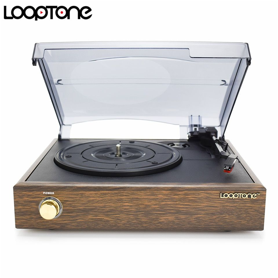 LoopTone 3 Vitesses Classique à Entraînement Par Courroie Platine Vinyle Tourne-disque W/2 Haut-parleurs Intégrés Ligne RCA de AC110 ~ 130 v & 220 ~ 240 v