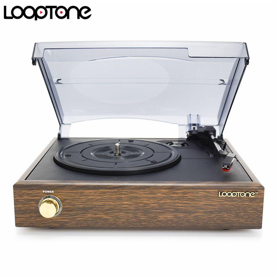 LoopTone lecteur de disque vinyle LP à 3 vitesses classique à entraînement par courroie avec 2 haut-parleurs intégrés RCA Line-out AC110 ~ 130 V & 220 ~ 240 V