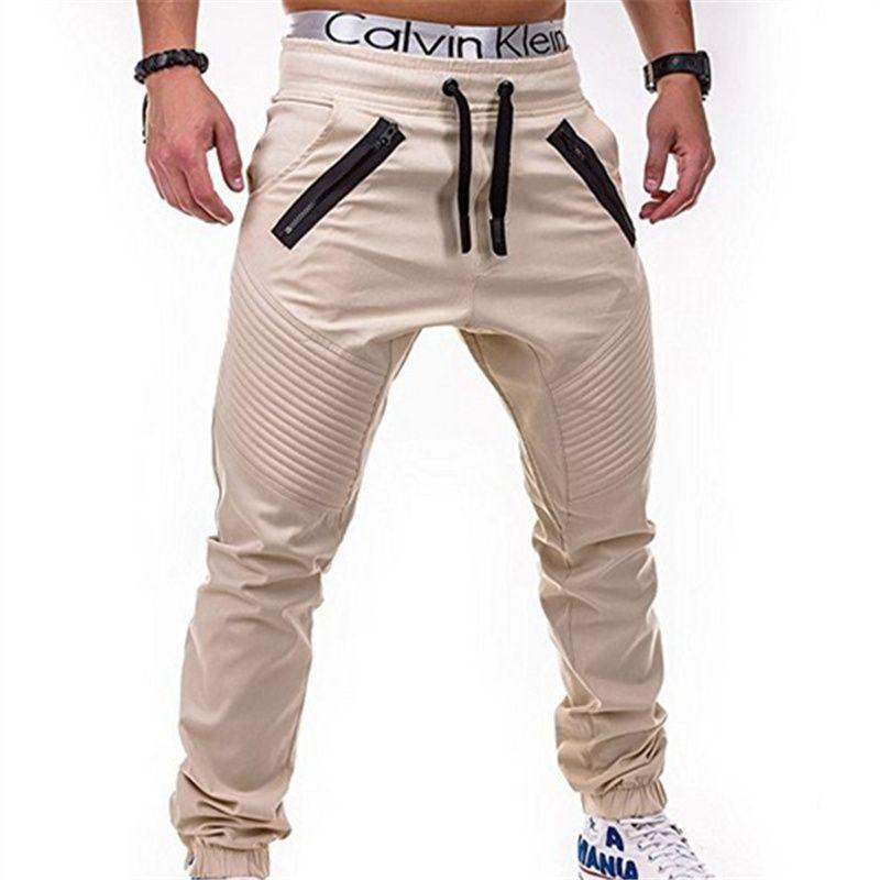 Men's casual pants fitness Cargo Pants Solid Khaki Breathable Summer Large Size Multi Pocket Long Trouser Spliced Pantalon Homme