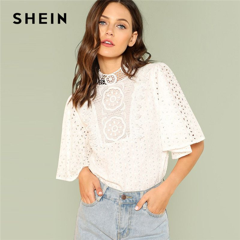 SHEIN White Elegant Office Lady Workwear Embroidery Contrast Lace Cut Out <font><b>Button</b></font> Women Blouses Stand Collar Neck Eyelet Top