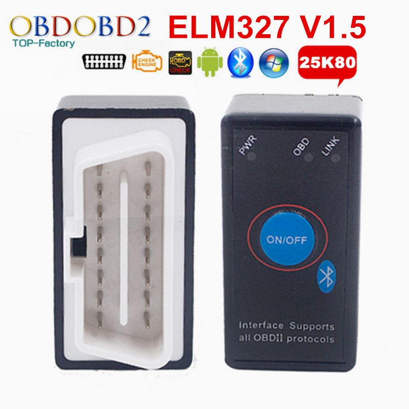 PIC18F25K80 ELM327 V1.5 ELM 327 Mini lecteur de Code Bluetooth OBD2 avec interrupteur d'alimentation pour Scanner de Diagnostic de voiture Windows Android