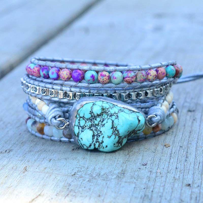 Le plus nouveau mélange Unique de pierres naturelles turquoises charme 5 brins bracelets d'enveloppement fait à la main Boho Bracelet femmes Bracelet en cuir