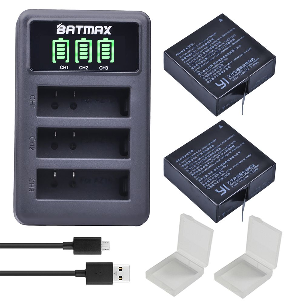 2Pcs 1400mAh 3.85V Battery AZ16-1 + LED USB 3slots Charger for Xiaomi Yi 2 4K Battery Original Xiao Mi Yi <font><b>Lite</b></font> Action Cameras
