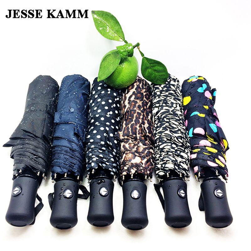 JESSE KAMM New arrive Gentles Ladies Fully-automatic Aluminium Fiberglass Strong Frame Three Folding compact big rain umbrella