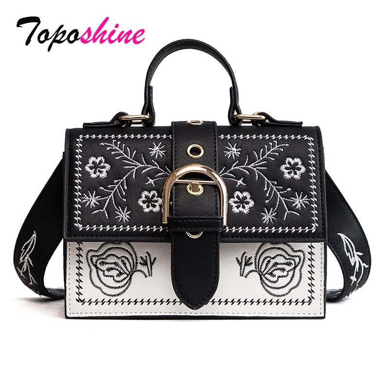 Toposhine Fashion Women Bag Panelled Vintage Girls Bags for Girls Black PU Leather Women Messenger Bags Free Gift Drop Shopping