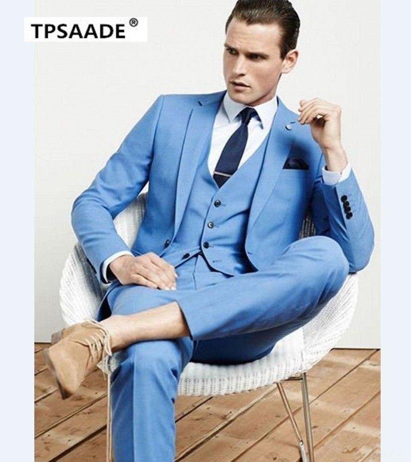 Handsome <font><b>Cool</b></font> Terno Bespoke Fashion Men Suits Slim Notch Lapel One Button Sky Bule Jacket Pant Vest Navy Bule Tie Handkerchief