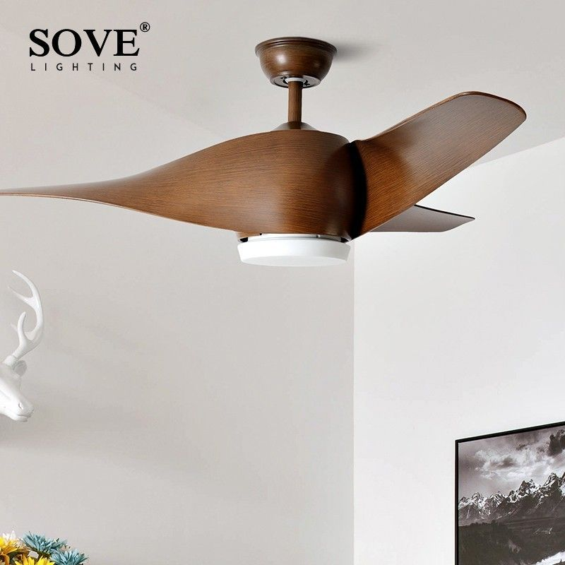 SOVE Braun Vintage Decke Fan Mit Lichter Fernbedienung Ventilador De Techo 220 Volt Schlafzimmer Decke Licht Fan Lampe LED lampen