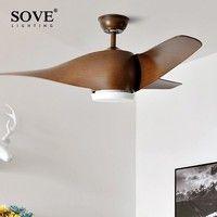 Sove 52 дюйма коричневый цвет LED потолочный вентилятор для дома декор люстра с вентилятором дистанционное управление высокое качество DC 220V лоф...