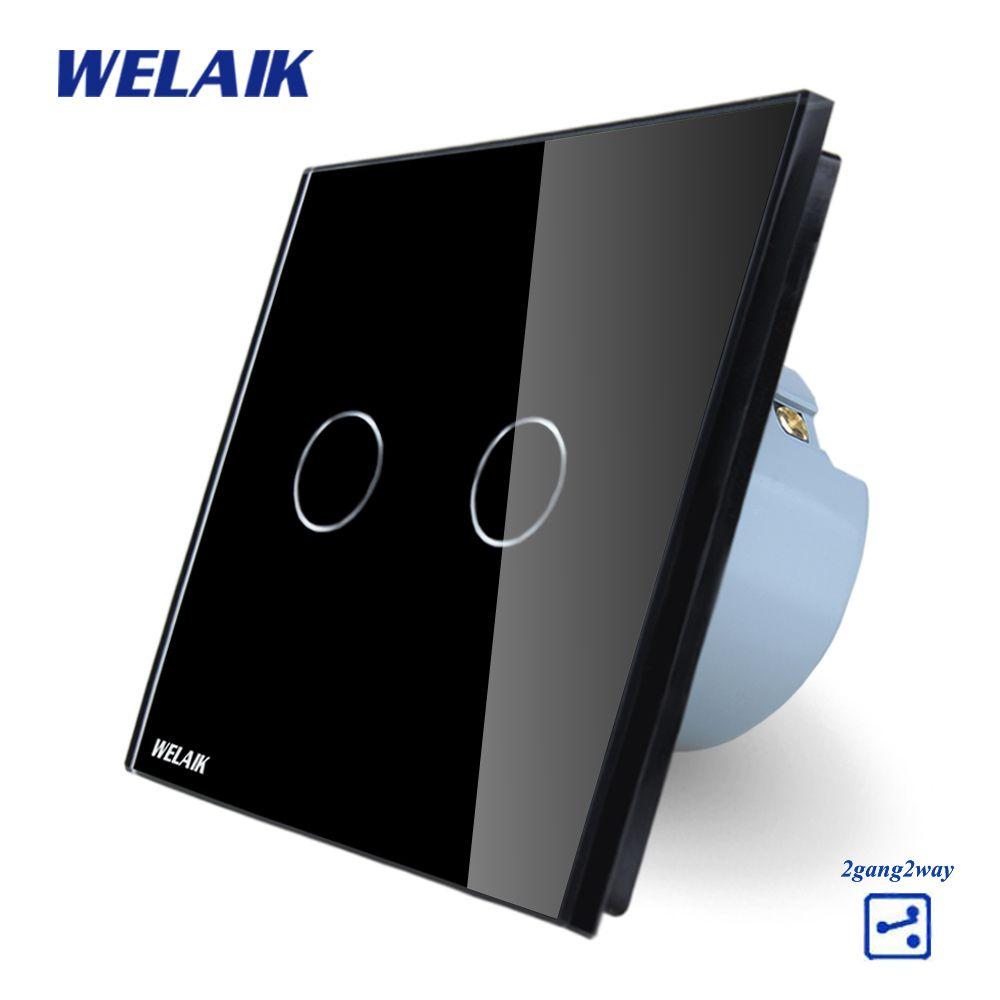 WELAIK Crystal Glass Panel Switch black Wall Switch EU Touch Switch Screen Wall Light Switch 2gang2way AC110~250V A1922CB