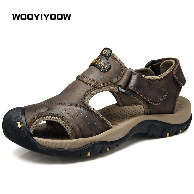 WOOY!YOOW 2018 Men's Sandals New Fashion Men's Casual Sandals Shoes Male Toe Beach Shoes Hot Cool Foot Walking Shoes Wearable