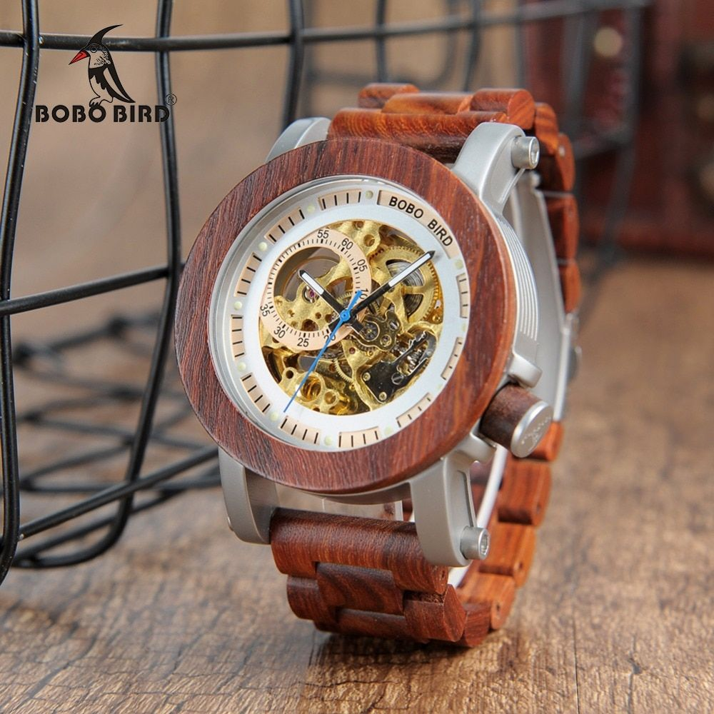BOBO BIRD Wood&Steel Exposed Mechanical Watch Wooden Band Vintage Bronze Skeleton Male Antique Steampunk Casual Automatic