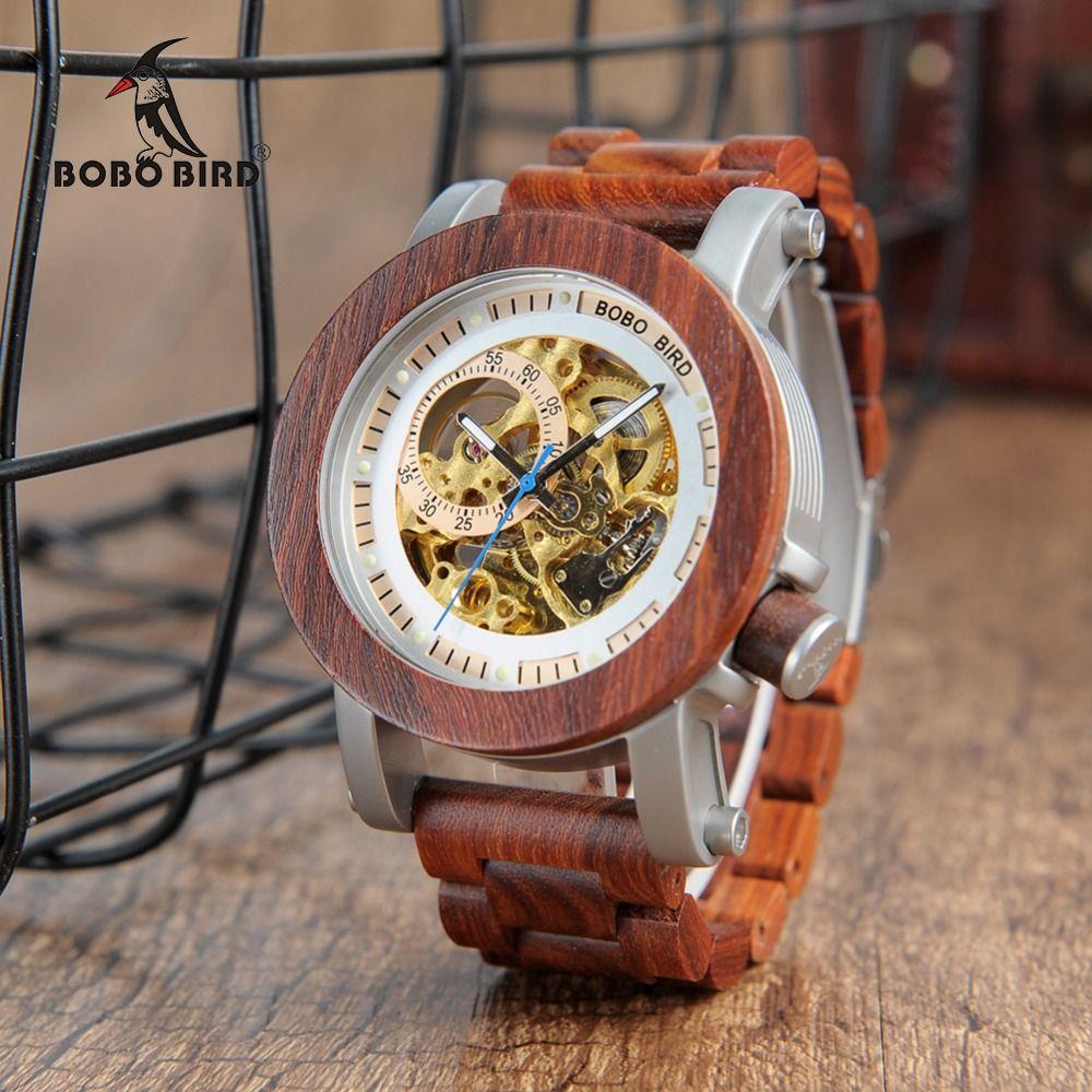 relogio masculino BOBO BIRD Watch Men Automatic Mechanical Watches Wood Vintage Big Size Men's Gift Wristwatch reloj hombre
