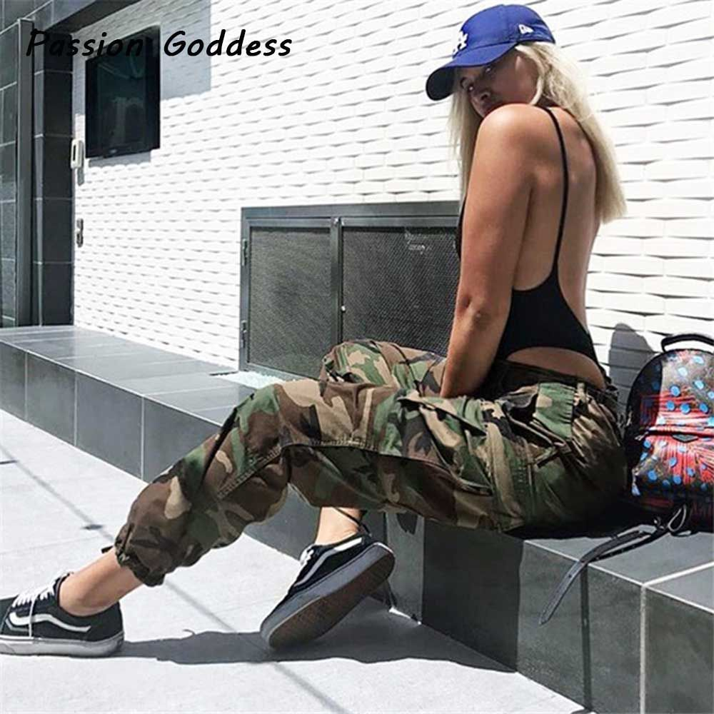 Dance Punk Sweatpants Women Pants Joggers Casual Camo Baggy Lady Trousers Pockets Femme ArmyGreen Red Camouflage Pantalon Mujer
