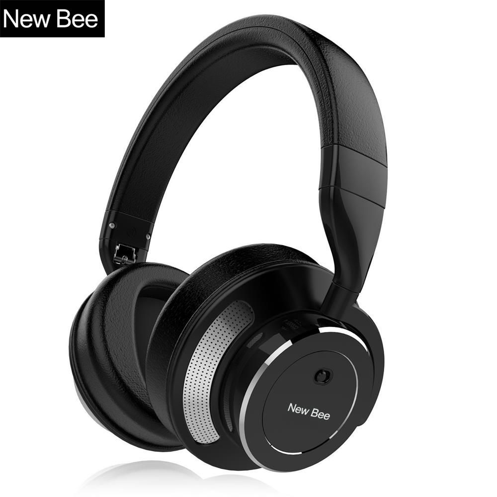 New Bee Active Noise Cancelling Wireless Bluetooth Headphone Stereo Deep Bass Headset Over-ear Earphone with Mic for Phone PC