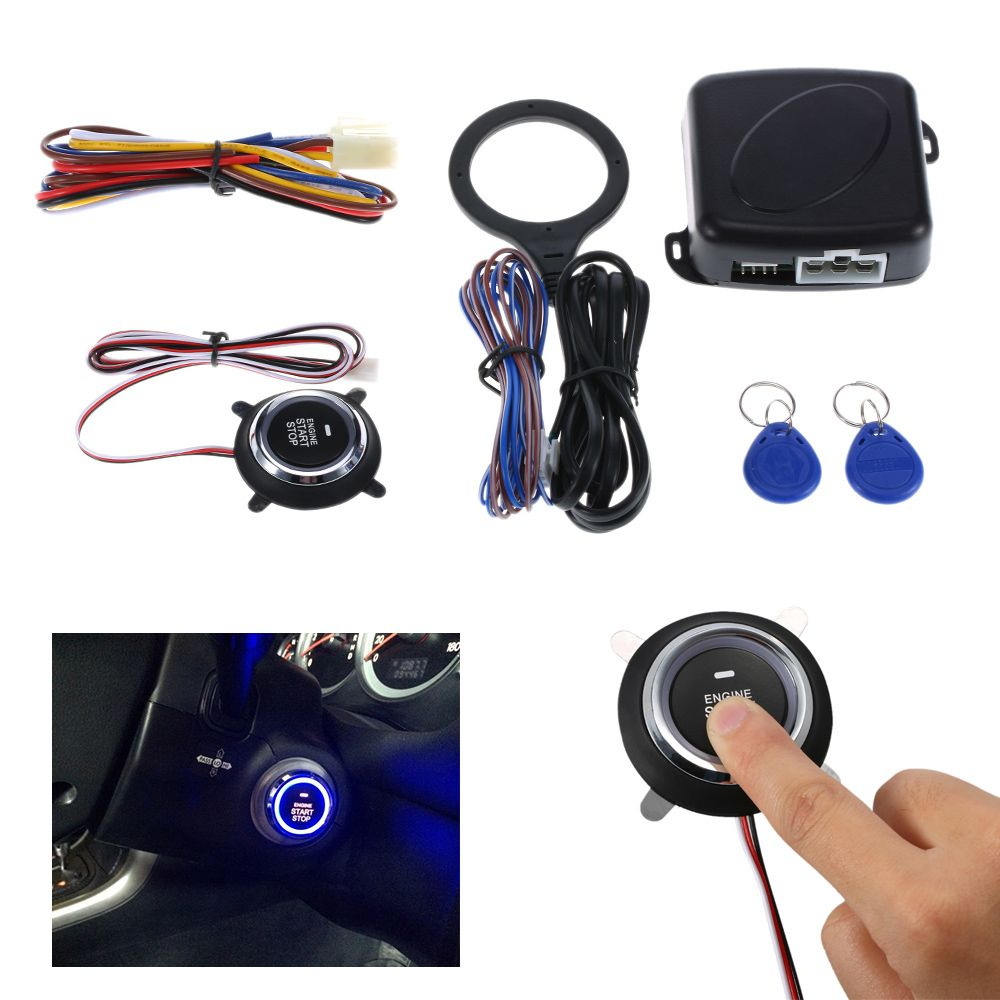 Auto Car Alarm <font><b>Engine</b></font> Starline Push Button Start Stop RFID Lock Ignition Switch Keyless Entry System Starter Anti-theft System