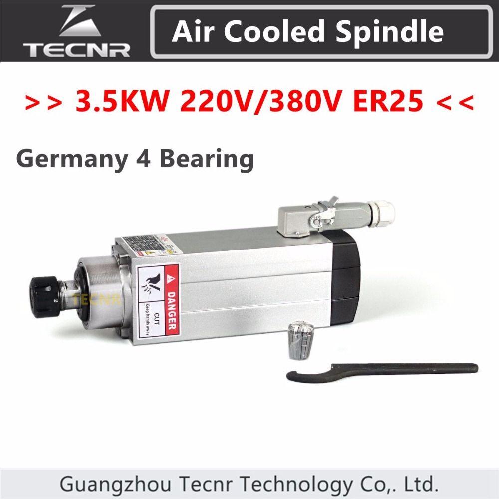 4pcs Ceramic Bearings 3.5kw 220v 380v air cooled spindle cnc milling spindle motor GDZ93*82-3.5