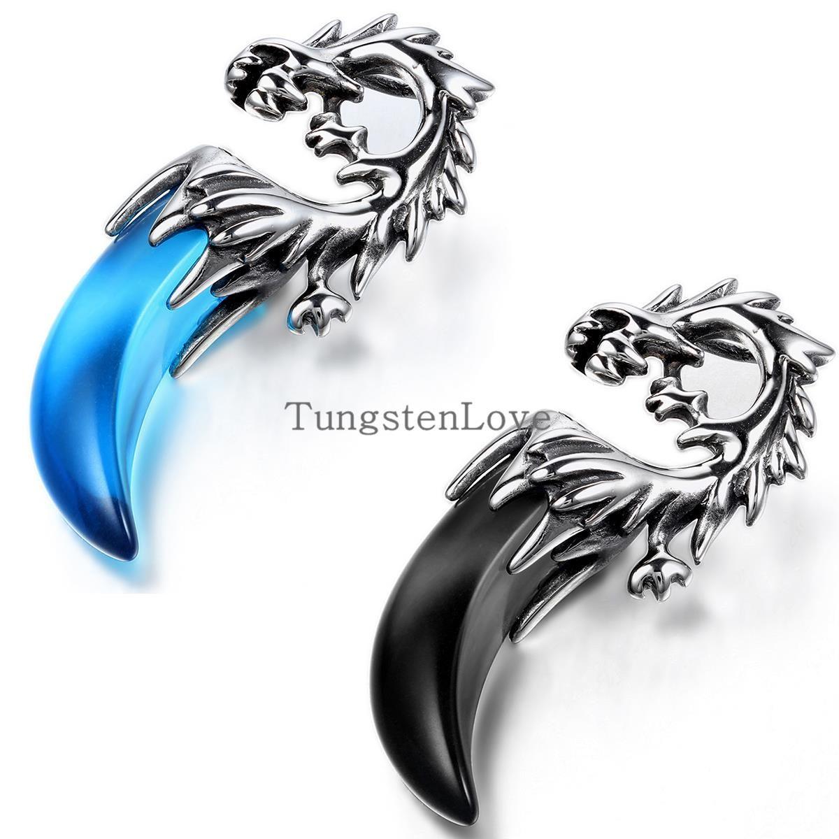 BONISKISS Tribal Mens Stainless Steel Dragon Tooth Pendant Necklace Boys hip hop pendant colgantes hombre Blue & Black selection