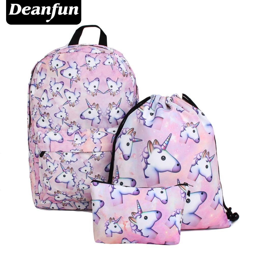 Deanfun 3 Teile/satz Frauen Gedruckt Einhorn Rucksack Schultaschen Für Mädchen Im Teenageralter Schulter Kordelzug Taschen