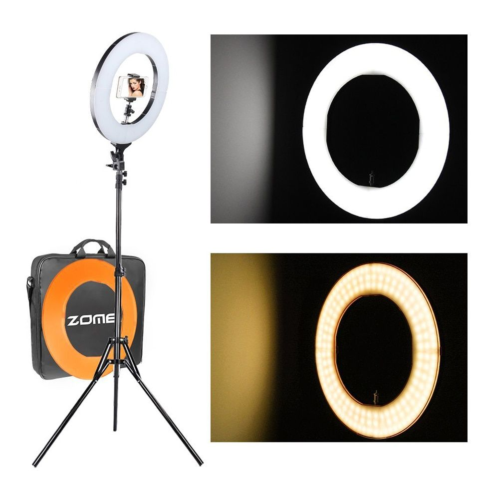ZOMEI Dimmable LED SMD Ring Light Photographic Ligting 41W Outer Plastic Color Filter Set Stand for Camera Photo/Video Shooting