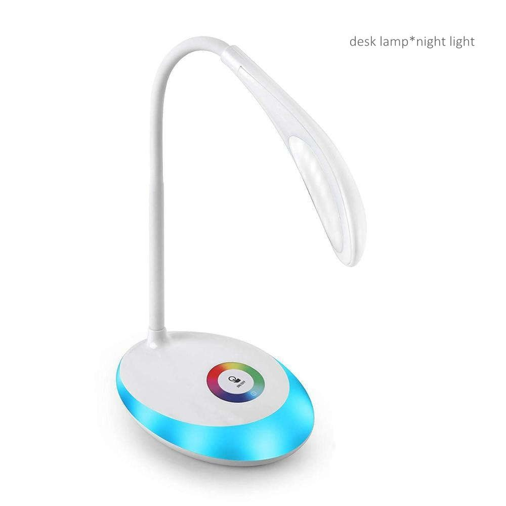 Willshi Table Lamp with Night Light Table Light and Reading Lamp Multi Color LED Desk Lamp 3 Levels Ajustable RGB LED Light