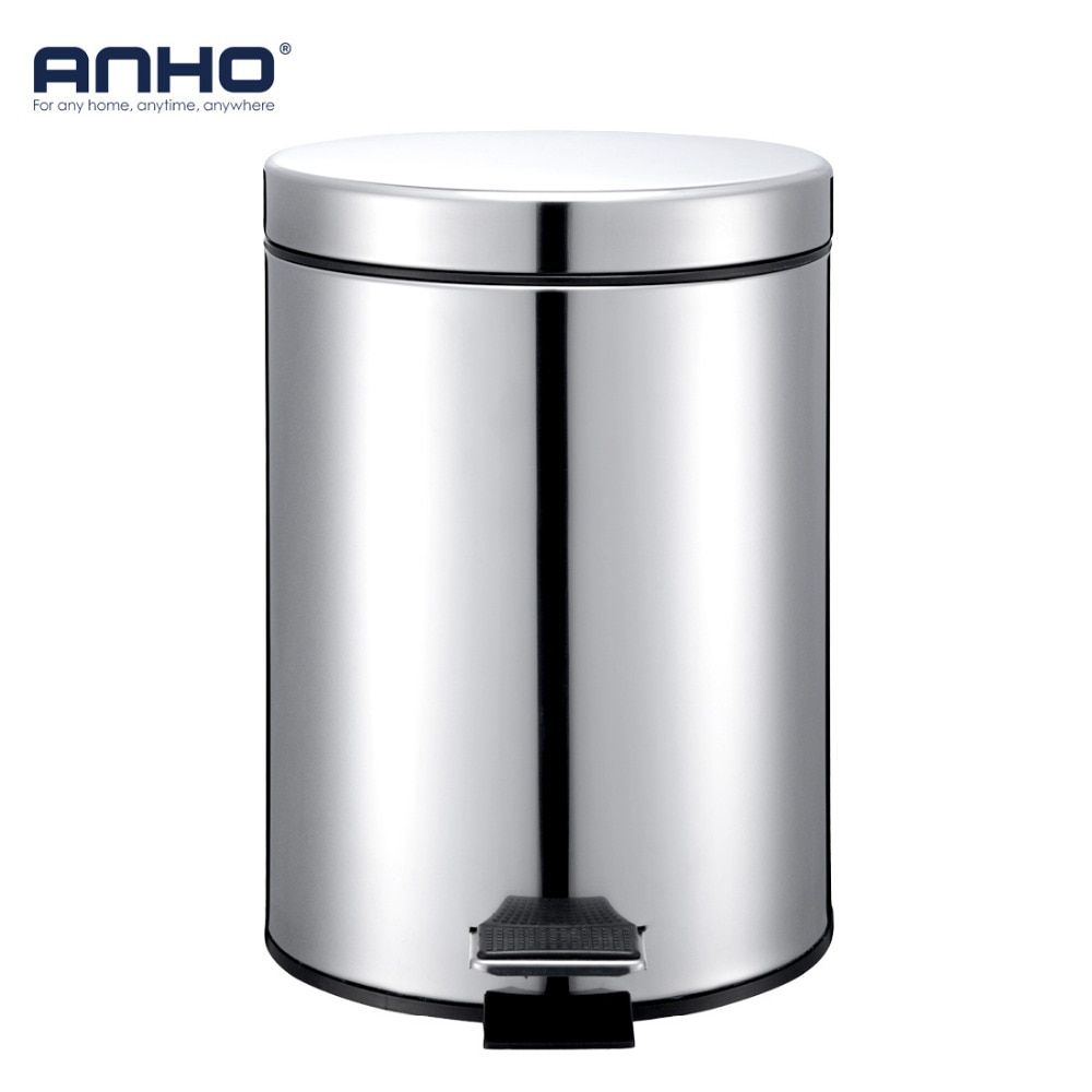 ANHO 5L Round Bins Stainless Steel Rubbish Can Foot Pedal Type Dustbin Eco-friendly Bathroom Trash Can Kitchen Waste Bin