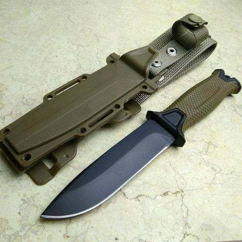 Brown Color Hunting Knife for camping tools Tactical knives Full or Serrated Fixed Blade Knife + Sheath!