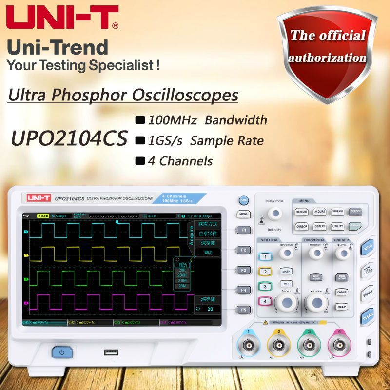 UNI-T UPO2104CS Super Fluorescent Oscilloscope with 1GS/s, 4-channel, 100MHz bandwidth, 8-inch TFT LCD