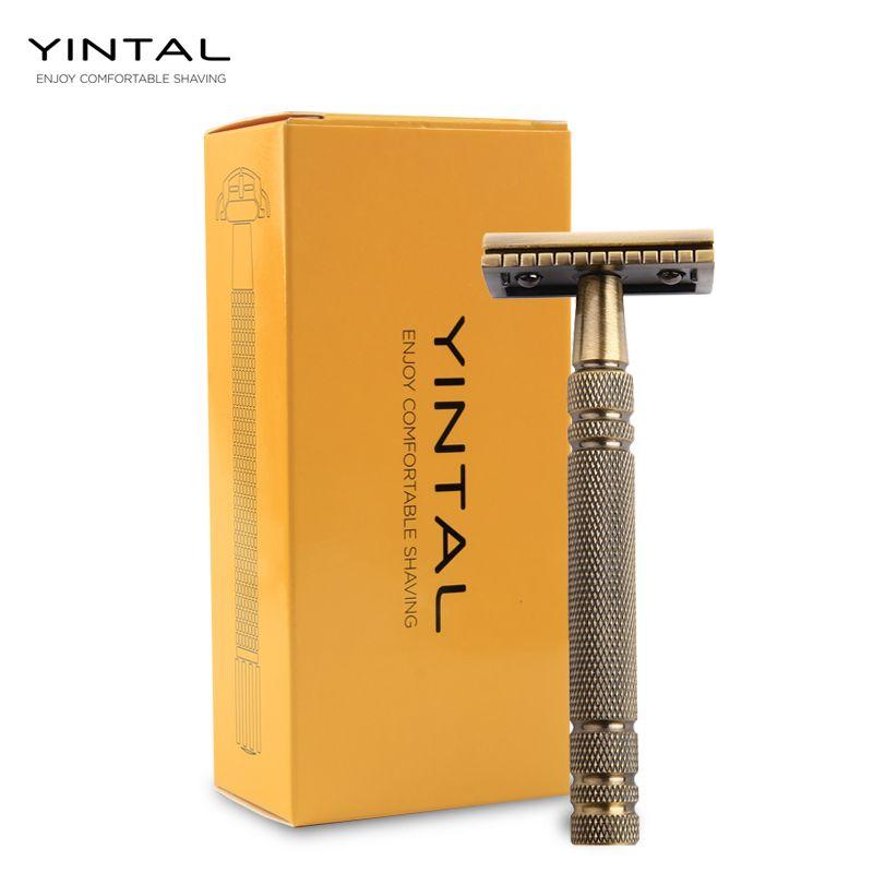 Rasoir manuel Double face classique en Bronze YINTAL pour hommes rasoirs de sécurité à Long manche rasage rasoirs classiques remplaçables