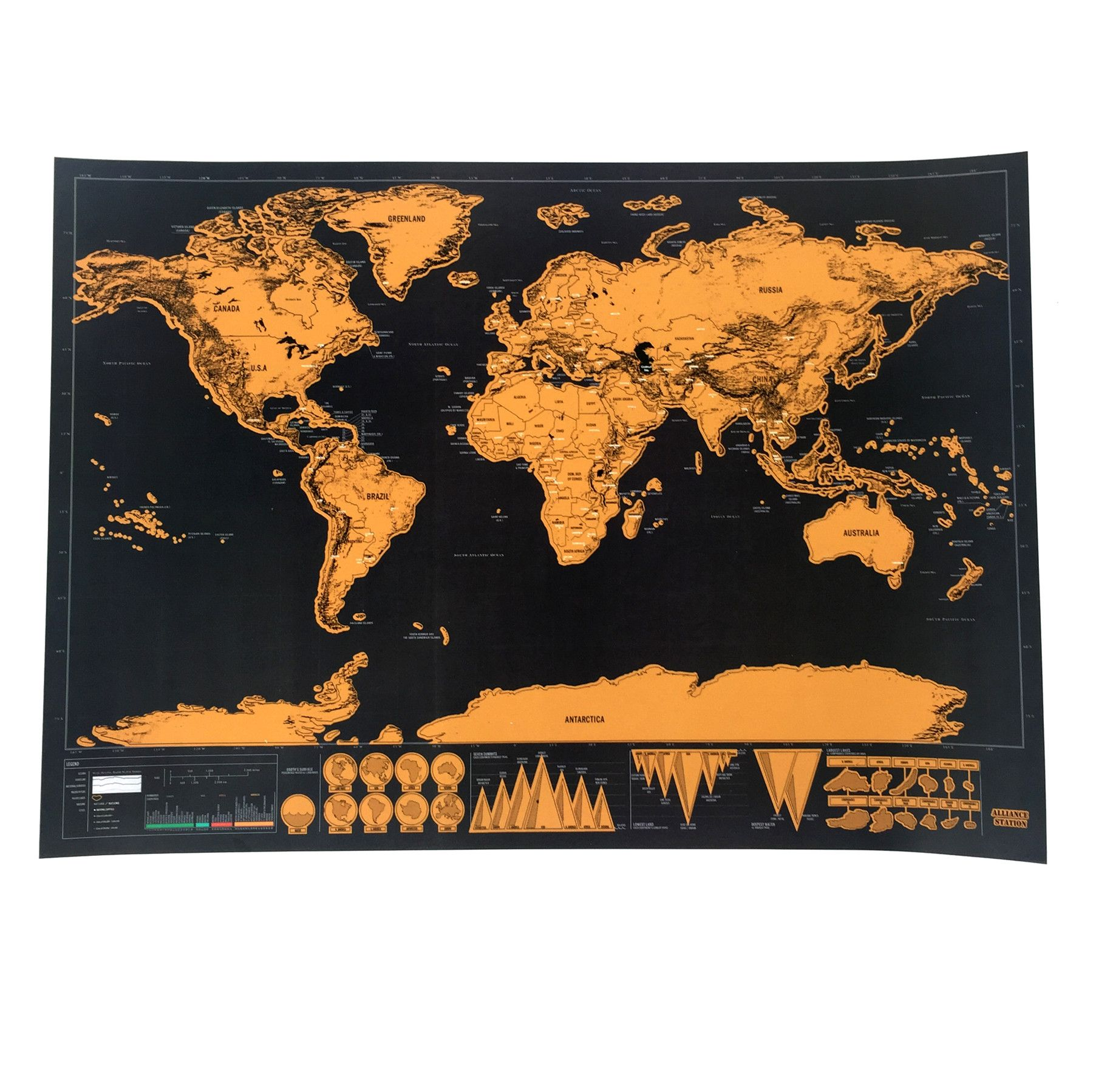 1 pcs Deluxe Scratch Map Personalized World Scratch Map Mini Scratch Off Foil Layer Coating Poster for travel and home decor