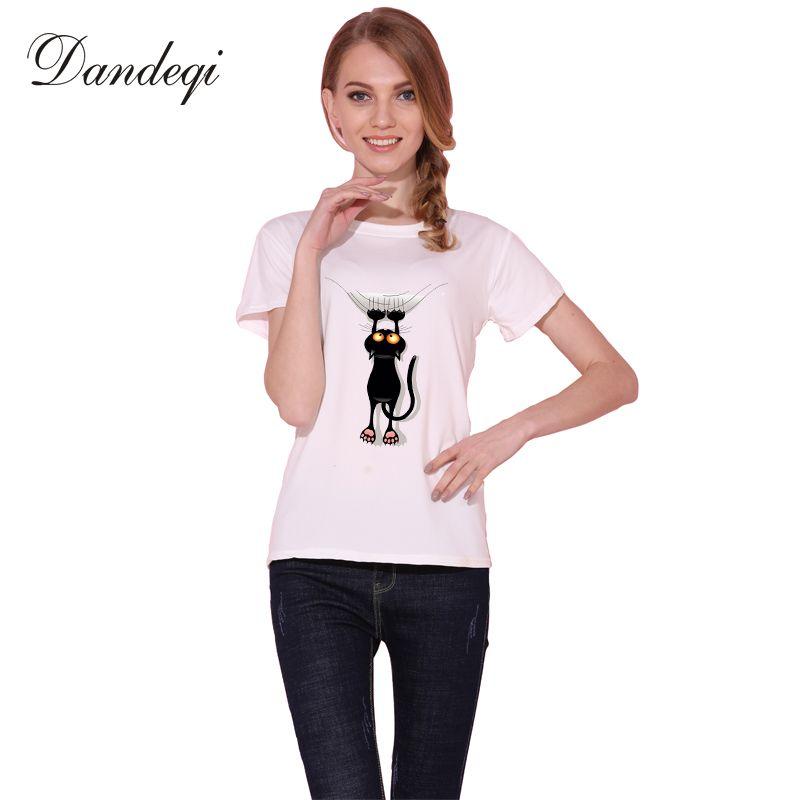 Dandeqi vilain chat noir 3D t-shirt femmes belle chemise bonne qualité confortable marque chemises doux hauts
