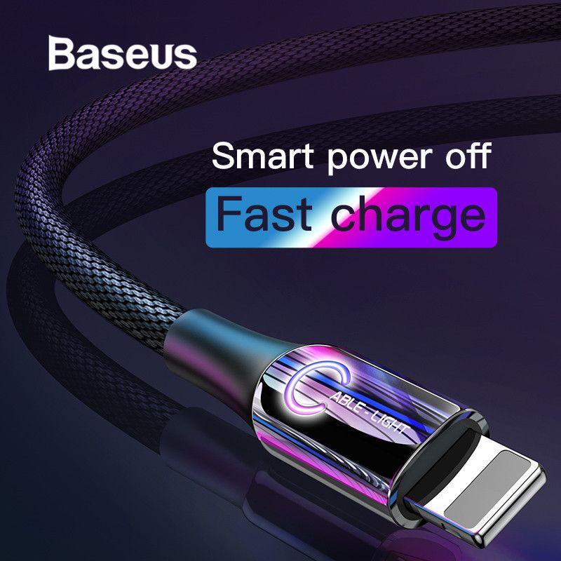 Baseus Intelligent mise hors tension câble USB pour iPhone x xs max câble de charge c-type respirer éclairage pour iPhone chargeur câble