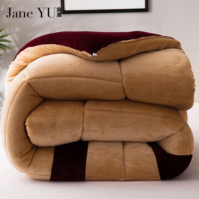 JaneYU 2018 New Arrived Winter Thicken Quilt Wool Cashmere Quilt Warm Fibers Quilts Bedding Sets Duvet
